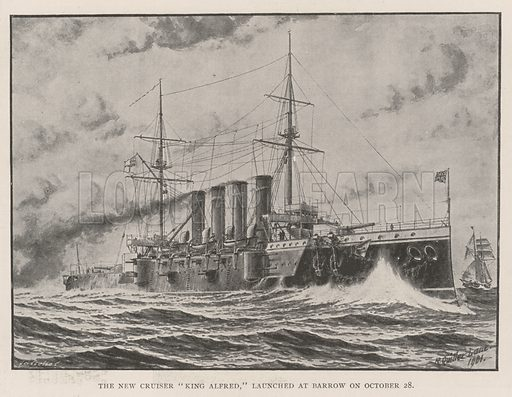 "The New Cruiser ""King Alfred,"" launched at Barrow on 28 October. Illustration for The Illustrated London News, 2 November 1901."