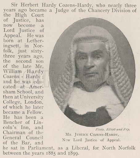 Mr Justice Cozens-Hardy, New Lord Justice of Appeal. Illustration for The Illustrated London News, 9 November 1901.