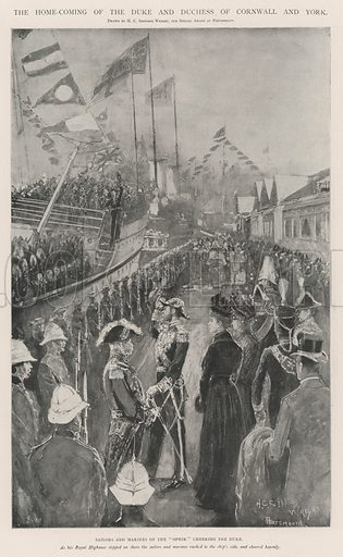 """The Home-Coming of the Duke and Duchess of Cornwall and York, Sailors and Marines of the """"Ophir"""" cheering the Duke. Illustration for The Illustrated London News, 9 November 1901."""