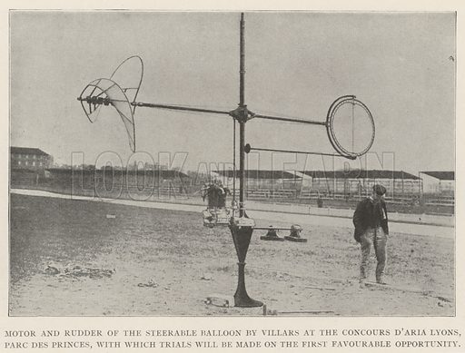 Motor and Rudder of the Steerable Balloon by Villars at the Concours d'Aria Lyons, Parc des Princes, with which Trials will be made on the First Favourable Opportunity. Illustration for The Illustrated London News, 23 November 1901.