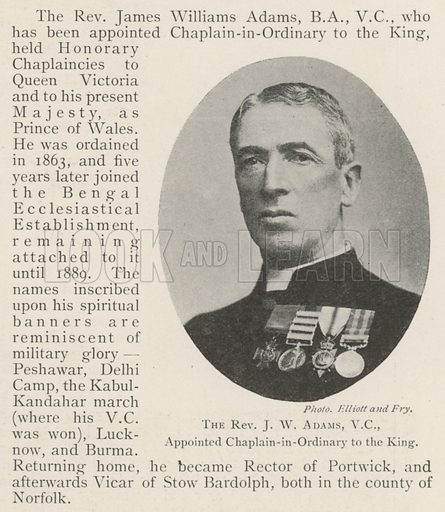 The Reverend JW Adams, VC, appointed Chaplain-in-Ordinary to the King. Illustration for The Illustrated London News, 23 November 1901.