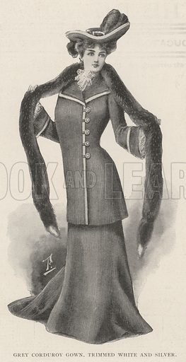 Grey Corduroy Gown, trimmed White and Silver. Illustration for The Illustrated London News, 23 November 1901.
