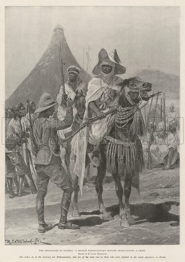 The Hostilities in Nigeria, a British Expeditionary Officer interviewing a Chief. Illustration for The Illustrated London News, 30 November 1901.