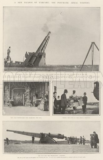 A New Weapon of Warfare, the Pneumatic Aerial Torpedo. Illustration for The Illustrated London News, 30 November 1901.