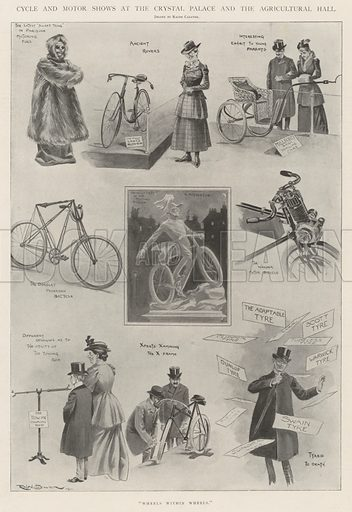 Cycle and Motor Shows at the Crystal Palace and the Agricultural Hall. Illustration for The Illustrated London News, 30 November 1901.