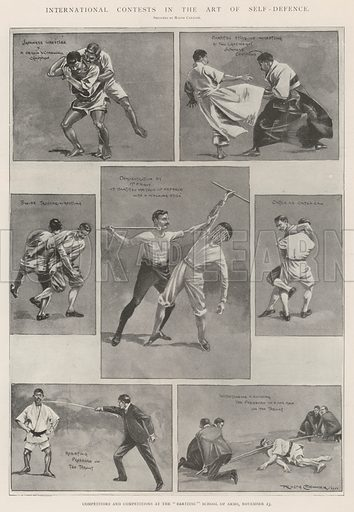 "International Contests in the Art of Self-Defence, Competitors and Competitions at the ""Bartitsu"" School of Arms, 23 November. Illustration for The Illustrated London News, 30 November 1901."