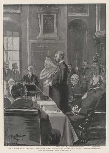The Prince of Wales's First Public Speech since he received his Title, Installation of His Royal Highness as President of St Bartholomew's Hospital, 3 December. Illustration for The Illustrated London News, 7 December 1901.