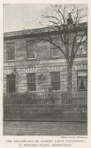 The Birthplace of Robert Louis Stevenson, 8, Howard Place, Edinburgh. Illustration for The Illustrated London News, 14 December 1901.