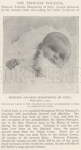 Princess Yolanda Marguerite of Italy, Born 1 June 1901. Illustration for The Illustrated London News, 14 December 1901.
