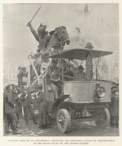 A Gallic Hero on an Automobile, conveying the Bartholdi Statue of Vercingetorix to the Grand Palais of the Champs Elysees. Illustration for The Illustrated London News, 14 December 1901.