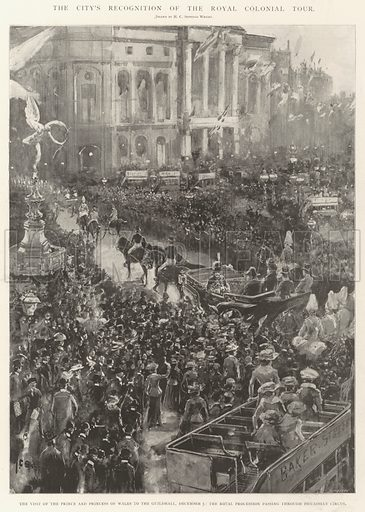 The City's Recognition of the Royal Colonial Tour, the Visit of the Prince and Princess of Wales to the Guildhall, 5 December, the Royal Procession passing through Piccadilly Circus. Illustration for The Illustrated London News, 14 December 1901.