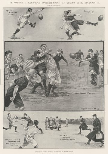 The Oxford v Cambridge Football-Match at Queen's Club, 11 December, the Rival Blues, Victory of Oxford by Eight Points. Illustration for The Illustrated London News, 21 December 1901.