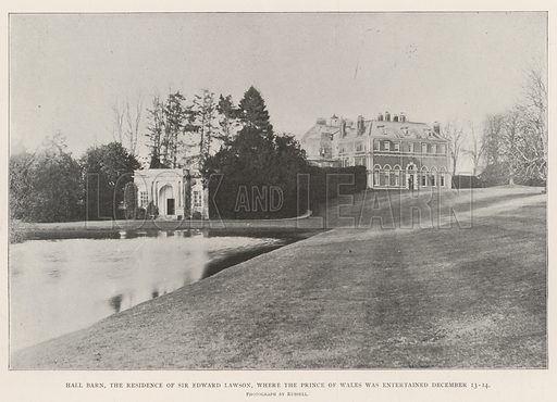 Hall Barn, the Residence of Sir Edward Lawson, where the Prince of Wales was entertained 13–14 December. Illustration for The Illustrated London News, 21 December 1901.