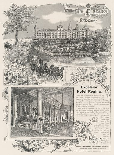 Advertisement, Excelsior Hotel Regina. Illustration for The Illustrated London News, 21 December 1901.