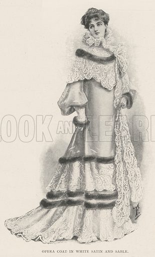 Opera Coat in White Satin and Sable. Illustration for The Illustrated London News, 21 December 1901.