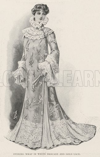 Evening Wrap in White Brocade and Gold Lace. Illustration for The Illustrated London News, 21 December 1901.