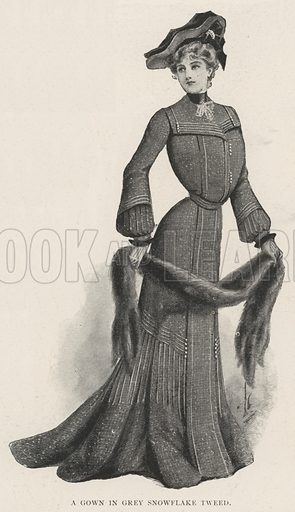 A Gown in Grey Snowflake Tweed. Illustration for The Illustrated London News, 28 December 1901.