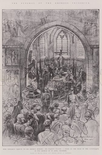 The Funeral of the Empress Frederick, King Edward's Tribute to his Sister's Memory, His Majesty placing a Cross at the Head of the Catafalque in the Church of St John Cronberg. Illustration for The Illustrated London News, 1901.