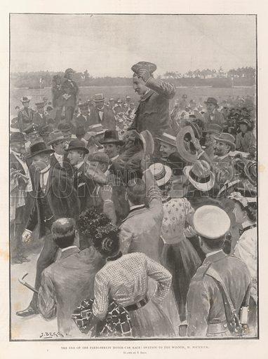 The End of the Paris-Berlin Motor-Car Race, Ovation to the Winner, M Fournier. Illustration for The Illustrated London News, 6 July 1901.