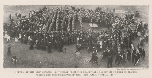 """Return of the New Zealand Contingent from the Transvaal, Reception at Port Chalmers, where the Men disembarked from the RMS""""Tongariro"""". Illustration for The Illustrated London News, 6 July 1901."""