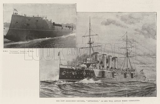 The Launch of the Leviathan. Illustration for The Illustrated London News, 13 July 1901.