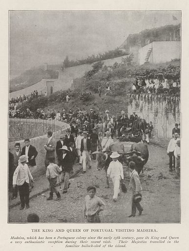 The King and Queen of Portugal visiting Madeira. Illustration for The Illustrated London News, 13 July 1901.