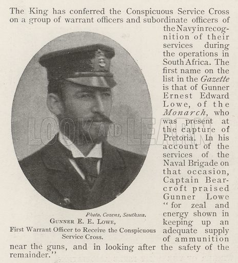 Gunner EE Lowe, First Warrant Officer to receive the Conspicuous Service Cross. Illustration for The Illustrated London News, 13 July 1901.