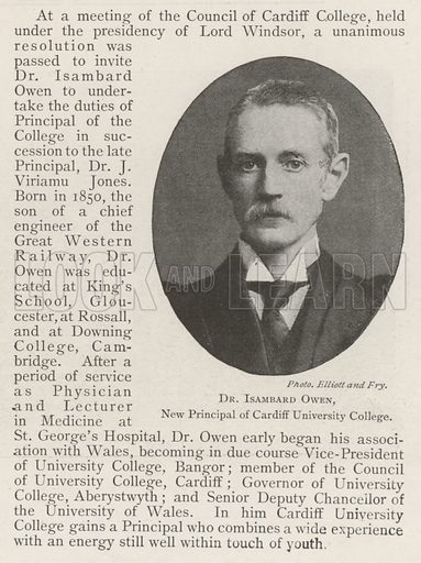 Dr Isambard Owen, New Principal of Cardiff University College. Illustration for The Illustrated London News, 13 July 1901.