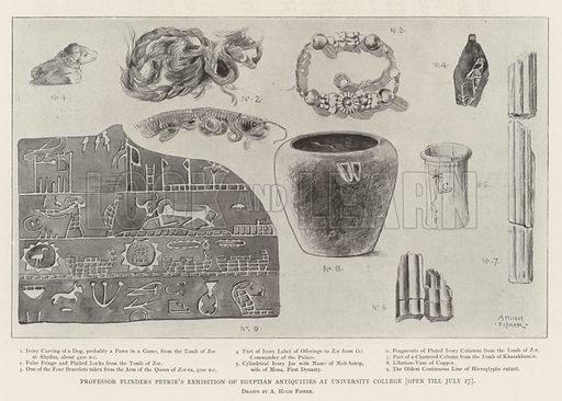 Professor Flinders Petrie's Exhibition of Egyptian Antiquities at University College (open till 27 July). Illustration for The Illustrated London News, 13 July 1901.