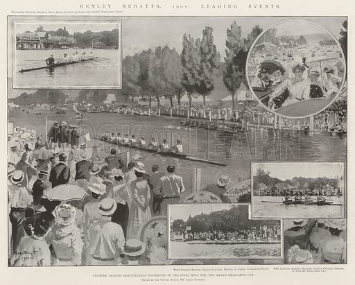 Henley Regatta, 1901, Leading Events, Leander beating Pennsylvania University in the Final Heat for the Grand Challenge Cup. Illustration for The Illustrated London News, 13 July 1901.