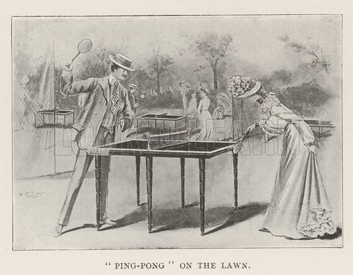 """Ping-Pong"" on the Lawn. Illustration for The Illustrated London News, 13 July 1901."