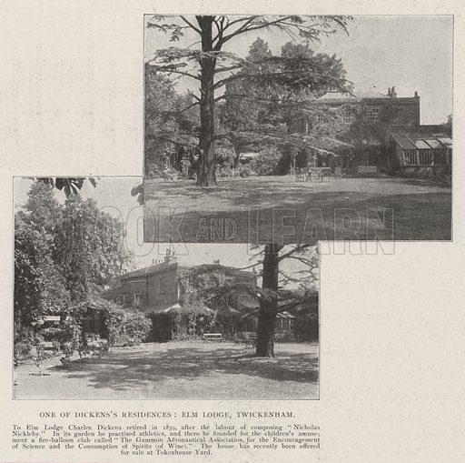 One of the Dickens's Residences, Elm Lodge, Twickenham. Illustration for The Illustrated London News, 20 July 1901.