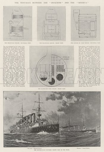"""The Test-Race between the """"Hyacinth"""" and the """"Minerva"""". Illustration for The Illustrated London News, 20 July 1901."""
