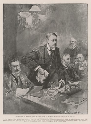 The Position of the Liberal Party, Lord Rosebery speaking at the City Liberal Club, 19 July. Illustration for The Illustrated London News, 27 July 1901.