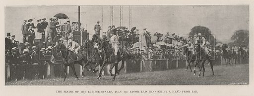The Finish of the Eclipse Stakes, 19 July, Epsom Lad winning by a Head from Ian. Illustration for The Illustrated London News, 27 July 1901.