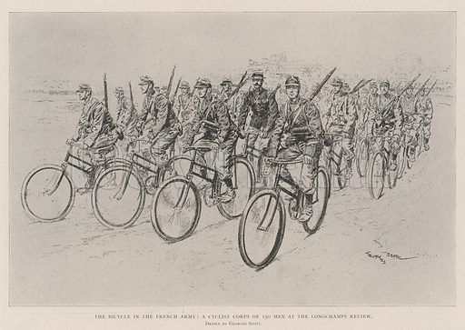 The Bicycle in the French Army, a Cyclist Corps of 150 Men at the Longchamps Review. Illustration for The Illustrated London News, 27 July 1901.
