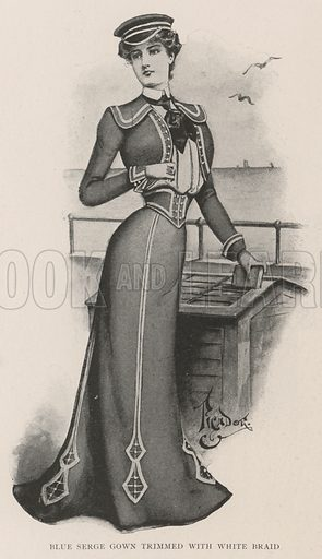 Blue Serge Gown trimmed with White Braid. Illustration for The Illustrated London News, 27 July 1901.