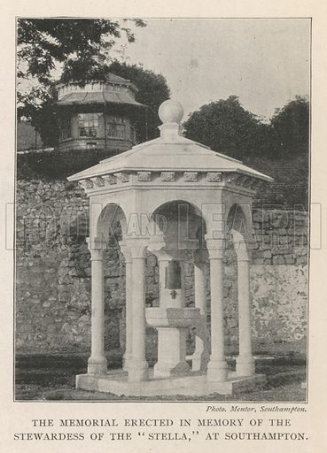 """The Memorial erected in Memory of the Stewardess of the """"Stella,"""" at Southampton. Illustration for The Illustrated London News, 3 August 1901."""