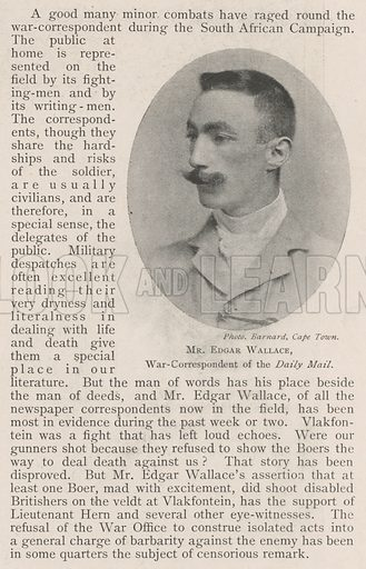Mr Edgar Wallace, War-Correspondent of the Daily Mail. Illustration for The Illustrated London News, 3 August 1901.