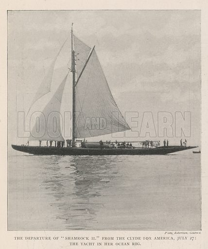 "The Departure of ""Shamrock II"" from the Clyde for America, 27 July, the Yacht in her Ocean Rig. Illustration for The Illustrated London News, 3 August 1901."