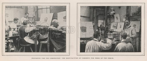 Preparing for the Coronation, the Manufacture of Coronets for Peers of the Realm. Illustration for The Illustrated London News, 3 August 1901.