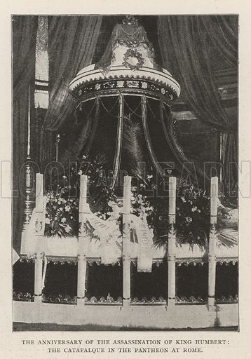 The Anniversary of the Assassination of King Humbert, the Catafalque in the Pantheon at Rome. Illustration for The Illustrated London News, 10 August 1901.