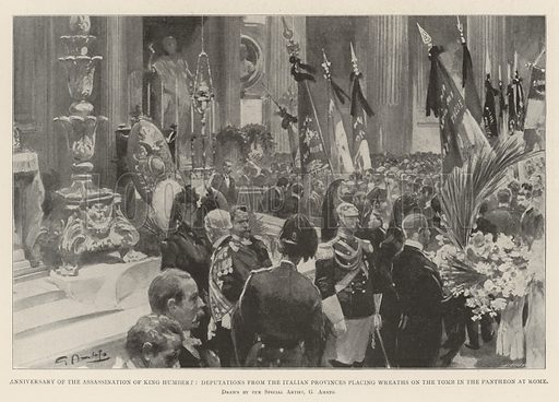 Anniversary of the Assassination of King Humbert, Deputations from the Italian Provinces placing Wreaths on Tomb in the Pantheon at Rome. Illustration for The Illustrated London News, 10 August 1901.