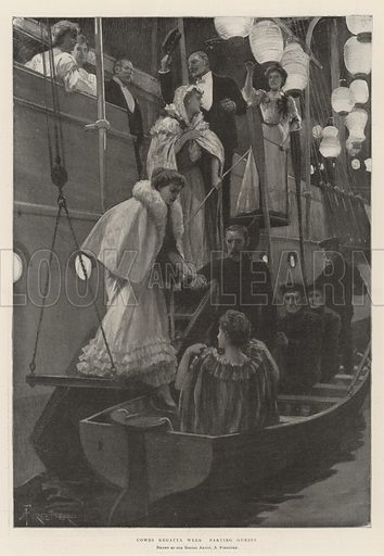 Cowes Regatta Week, parting Guests. Illustration for The Illustrated London News, 10 August 1901.