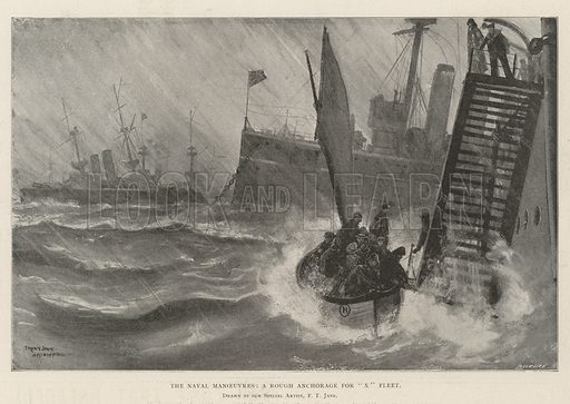 "The Naval Manoeuvres, a Rough Anchorage for ""X"" Fleet. Illustration for The Illustrated London News, 10 August 1901."