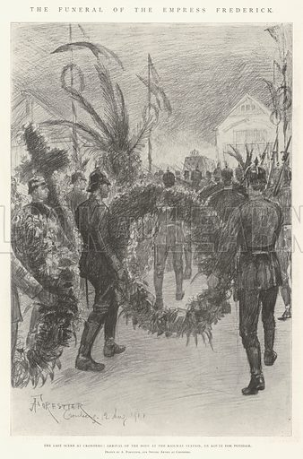 The Funeral of the Empress Frederick, the Last Scene at Cronberg, Arrival of the Body at the Railway Station, En Route for Potsdam. Illustration for The Illustrated London News, 17 August 1901.