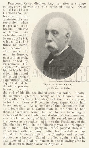 The late Signor Crispi, Ex-Premier of Italy. Illustration for The Illustrated London News, 17 August 1901.