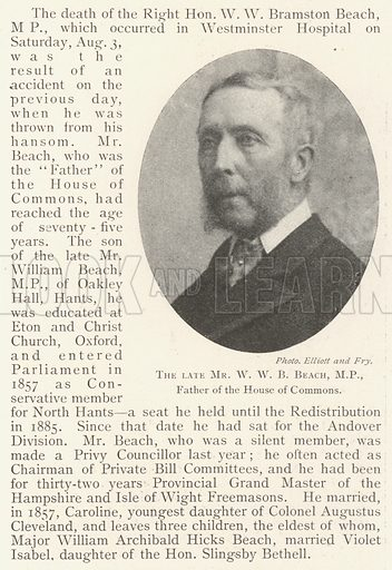 The late Mr WWB Beach, MP, Father of the House of Commons. Illustration for The Illustrated London News, 17 August 1901.