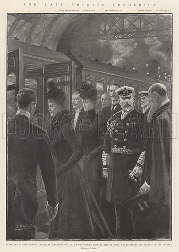 The late Empress Frederick, Departure of King Edward and Queen Alexandra on 9 August from Charing Cross Station on their Way to attend the Funeral of the Empress. Illustration for The Illustrated London News, 17 August 1901.