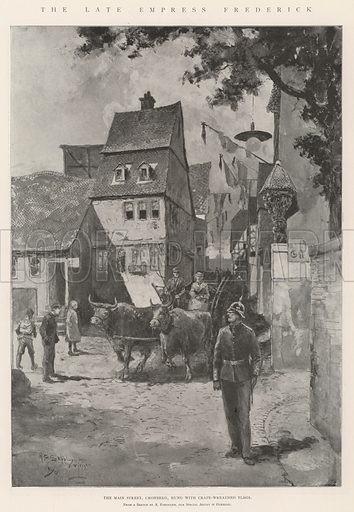 The late Empress Frederick, the Main Street, Cronberg, hung with Crape-Wreathed Flags. Illustration for The Illustrated London News, 17 August 1901.
